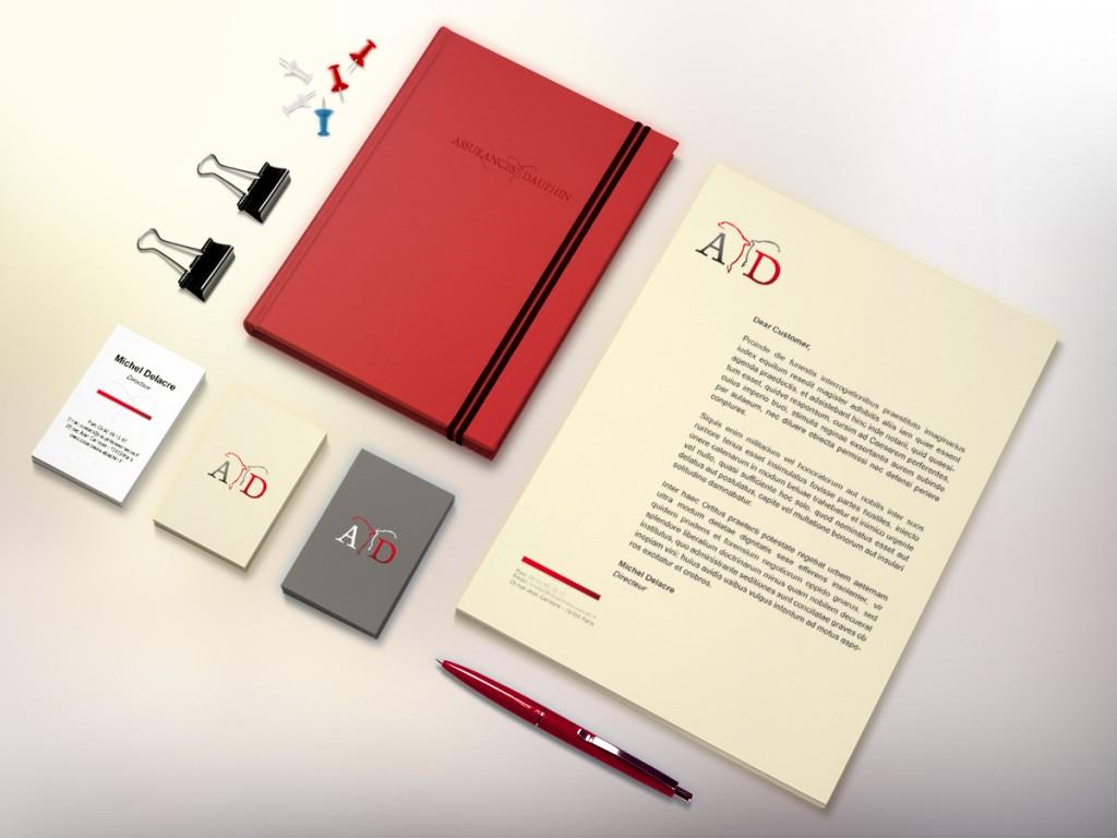 """Création de la charte graphique papier des """"Assurances Dauphin"""" par JA Design"""