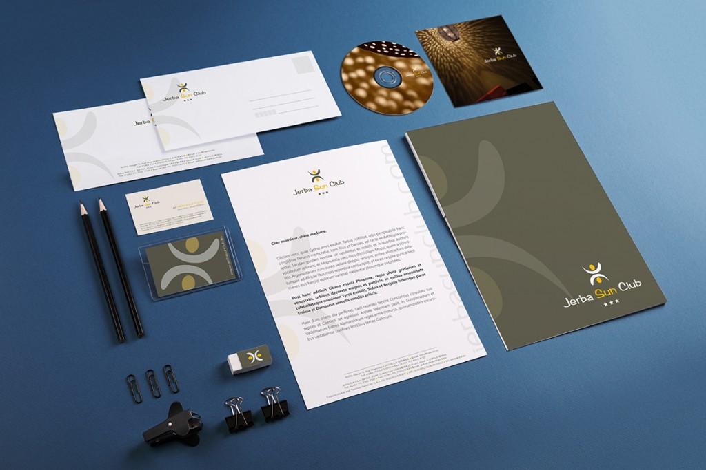 Création de l'identité visuelle et de la charte graphique papier de l'hôtel Jerba Sun Club.